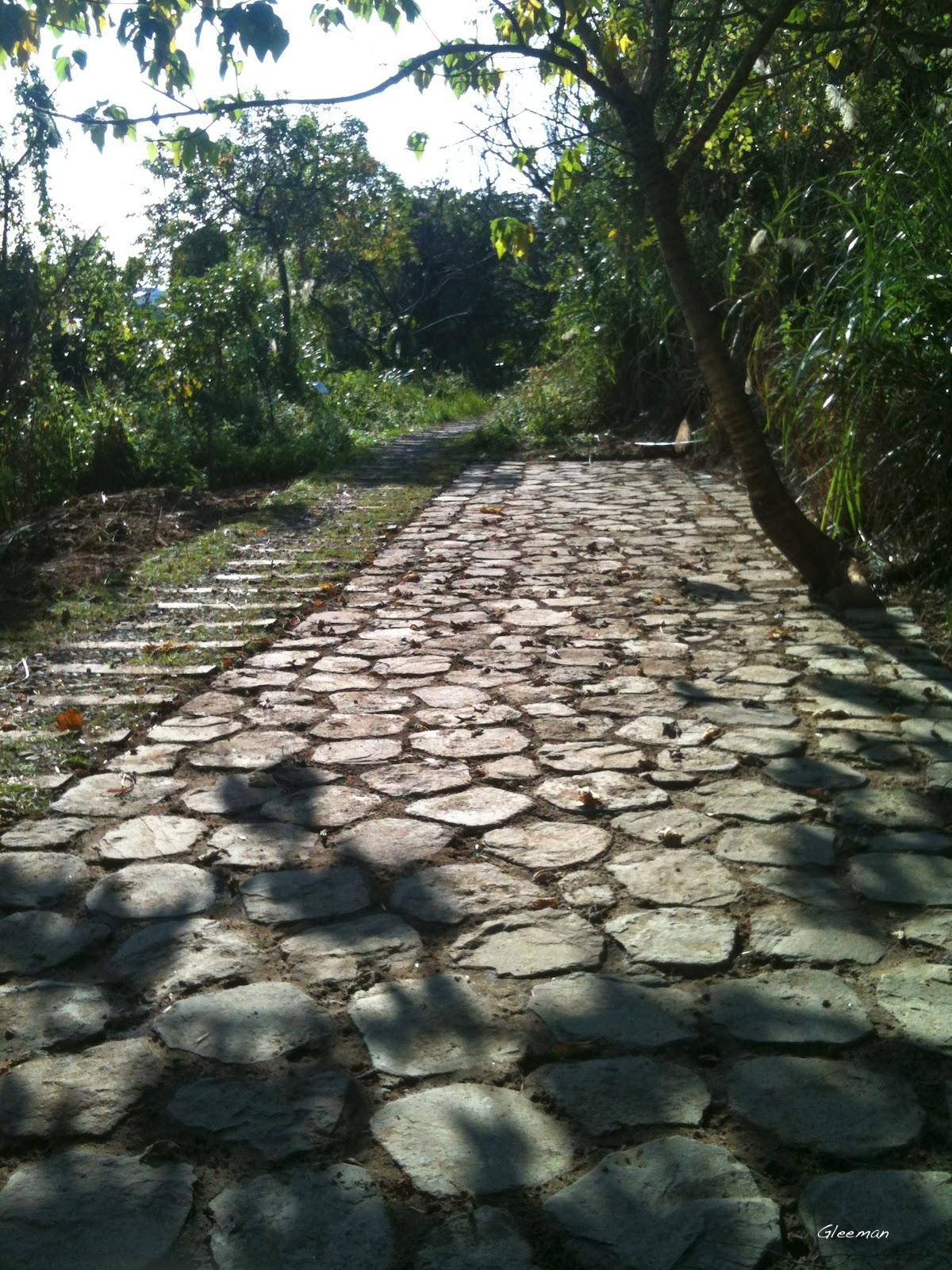 碎石步道旁闢出了一個可休息的空地