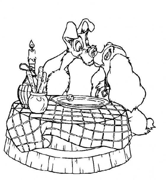 Dibujos animados para colorear: Dama y el vagabundo para colorear