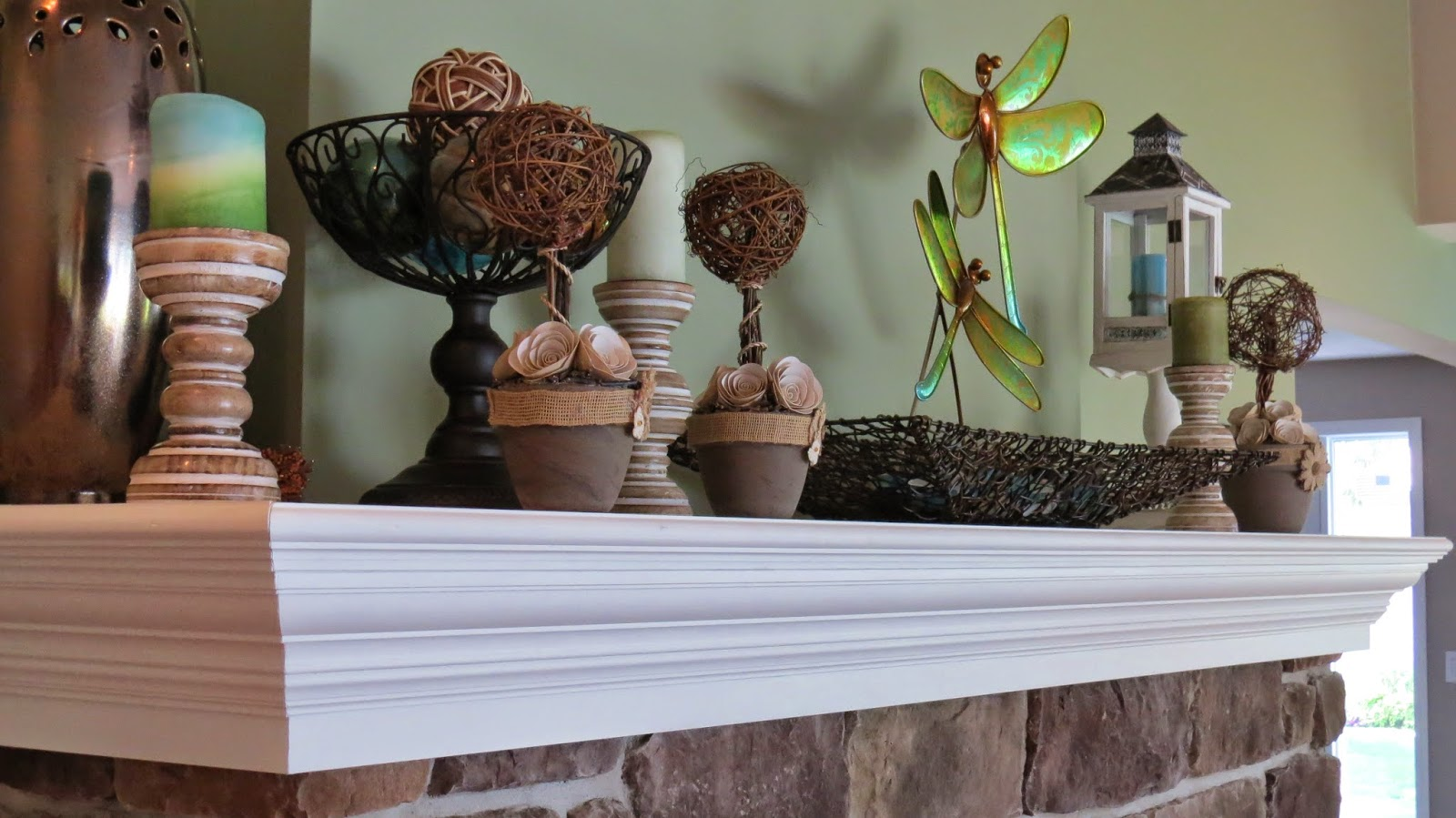 Mantel, Topiary, Silhouette Cameo, Paper Roses, Dragonfly, Burlap.Twigs