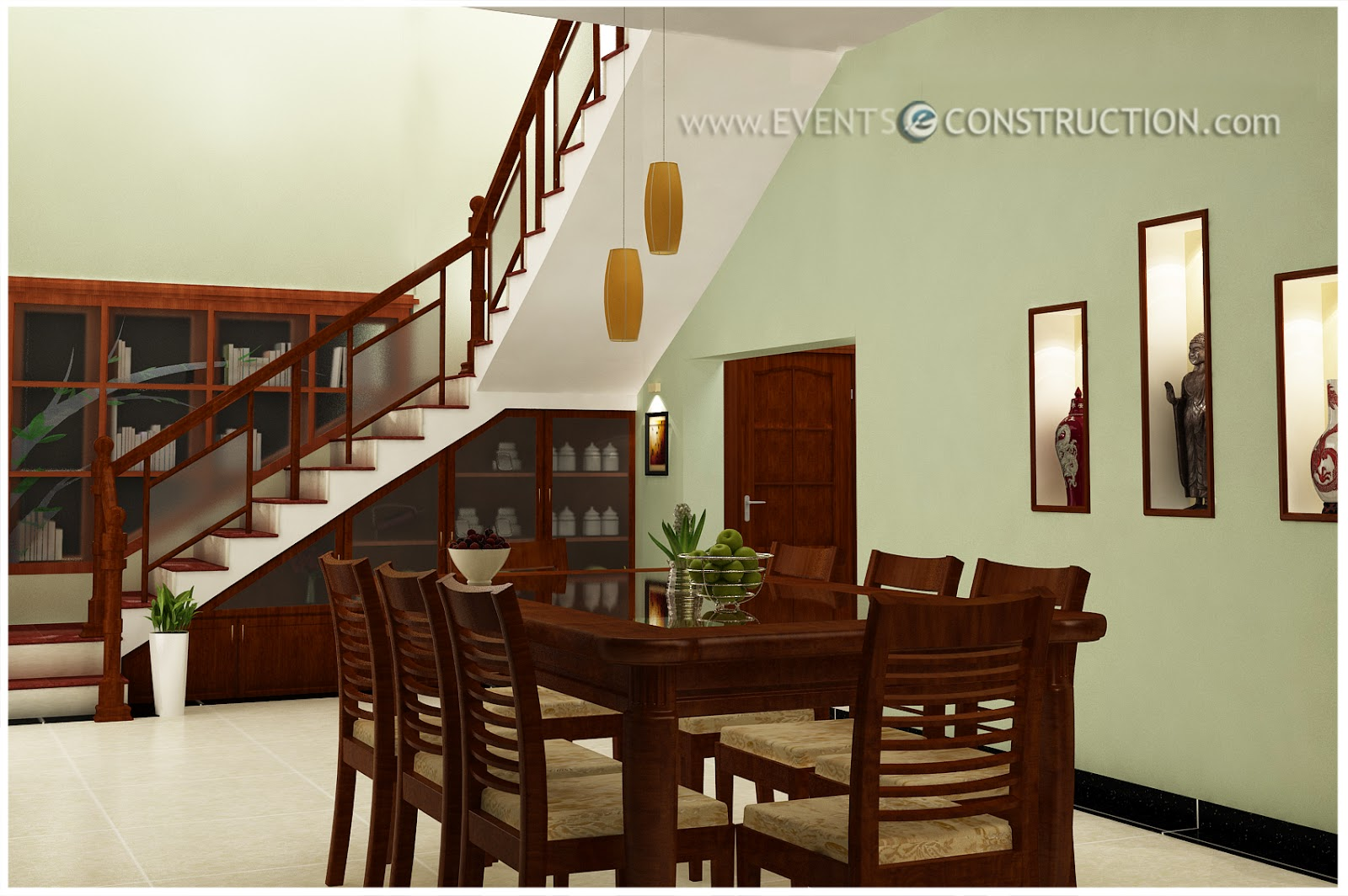 Evens construction pvt ltd dining area designed under for Dining room under stairs