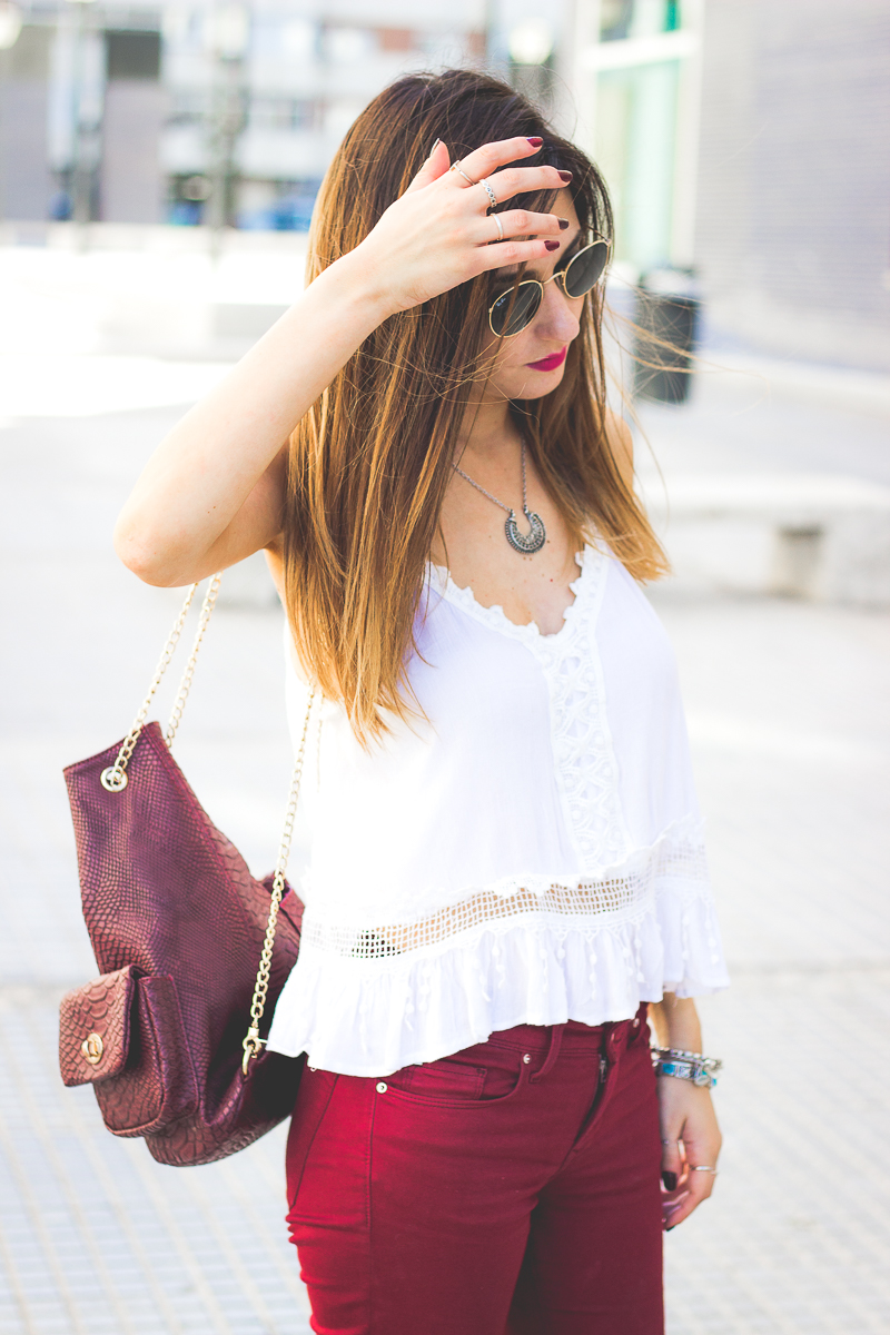 burgundy pants