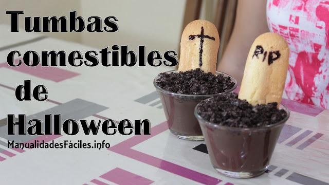 tumbas comestibles para halloween, manualidades de halloween, manualidades fáciles