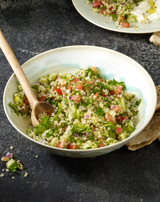 Quinoa Tabbouleh + Summer Berry Cobbler from the Skinnytaste Cookbook
