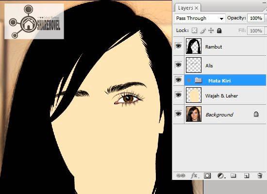 hasil dari membuat vector mata di photoshop - tutorial membuat vector di photoshop - membuat foto menjadi kartun dengan photoshop