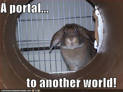 Bunny looks through cardboard tube. Caption: A portal... to another world!