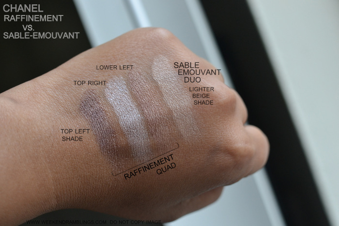 Chanel Eyeshadow Quad Raffinement Sable Emouvant Duo Swatches Comparisons Indian Beauty Makeup Blog Neutral Brown Palettes