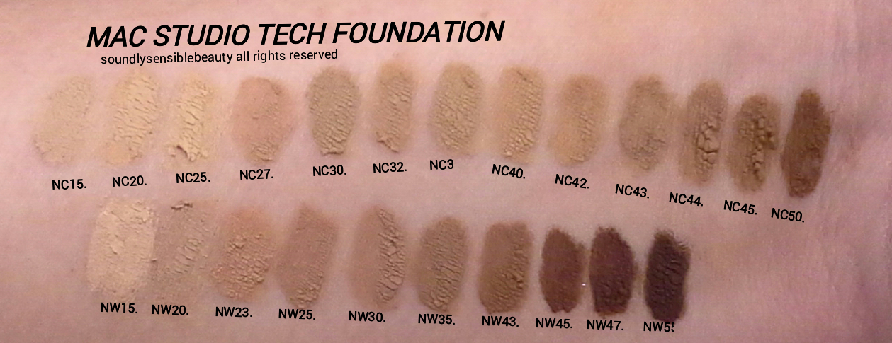 MAC Studio Tech Foundation; Swatches of Shades & Review