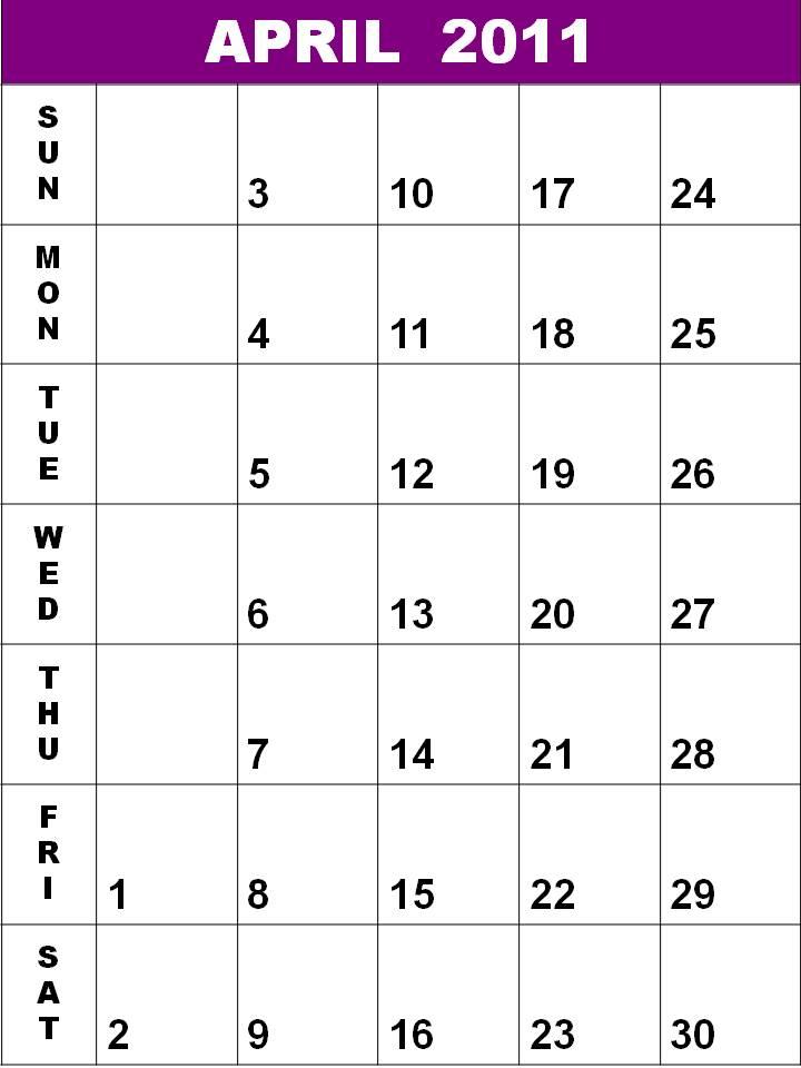 blank calendar 2011 australia. lank calendar 2011 april.