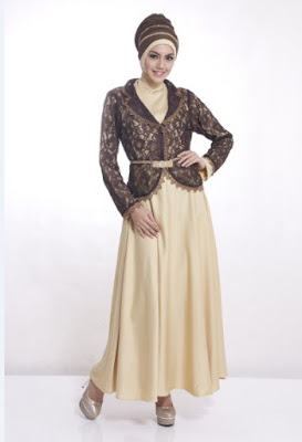 Model Baju Pesta Muslim Sederhana Warna Gold