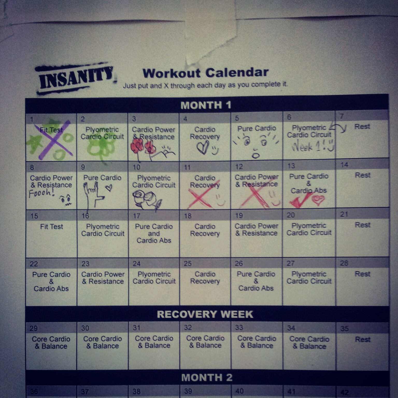 Insanity Fit Test Results This month 1 of insanity.