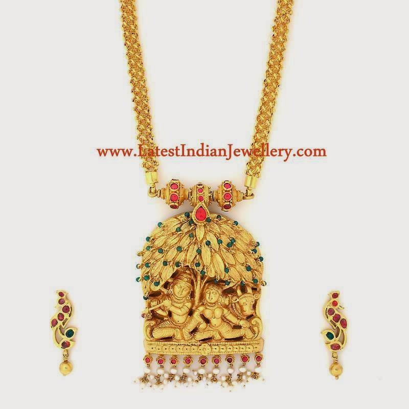 Radha Krishna Gold Pendant