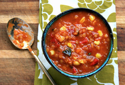 Roasted red pepper lentil soup is speedy and delicious