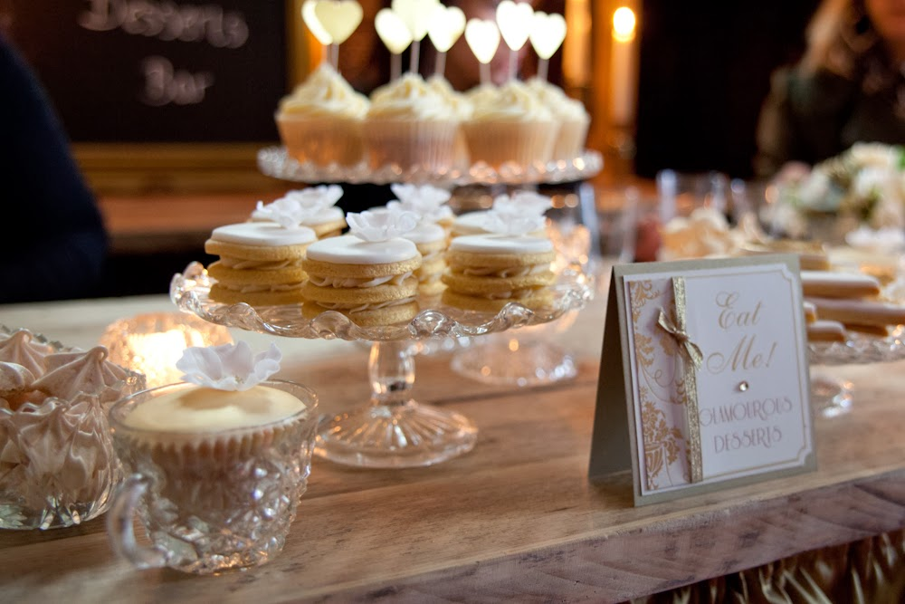 Eggnog and baileys dessert table for golden glamour styled wedding
