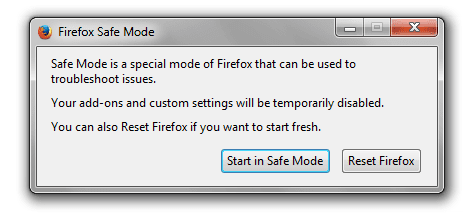 How to start Firefox in Safe Mode
