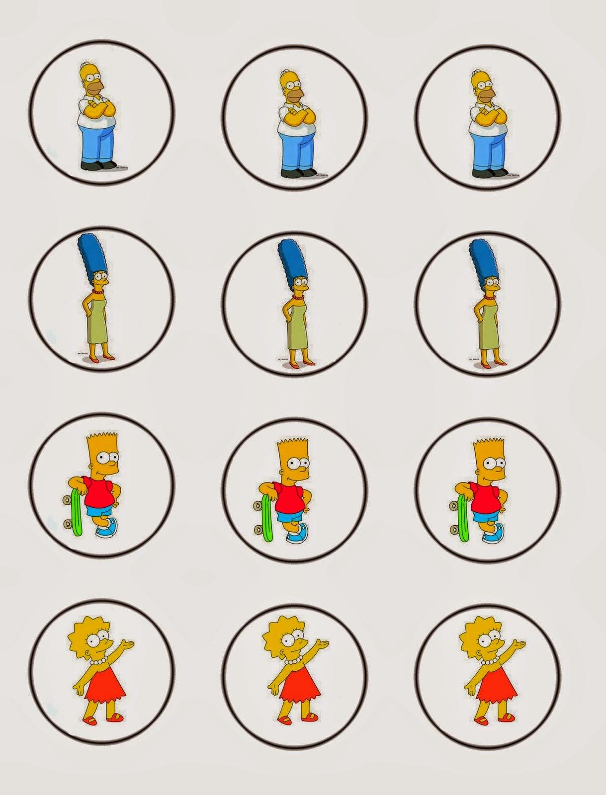 Los Simpson: Invitaciones, Tarjetas, Toppers y Stickers