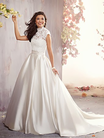Lace and satin wedding gown