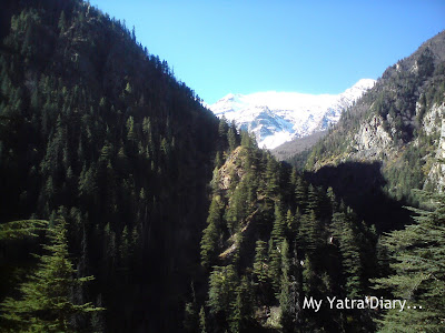 Snow clad mountainous peaks at Bhaironghati in Uttarakhand