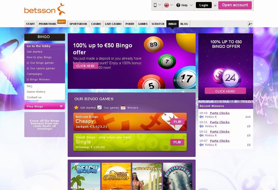 Betsson Bingo Screen
