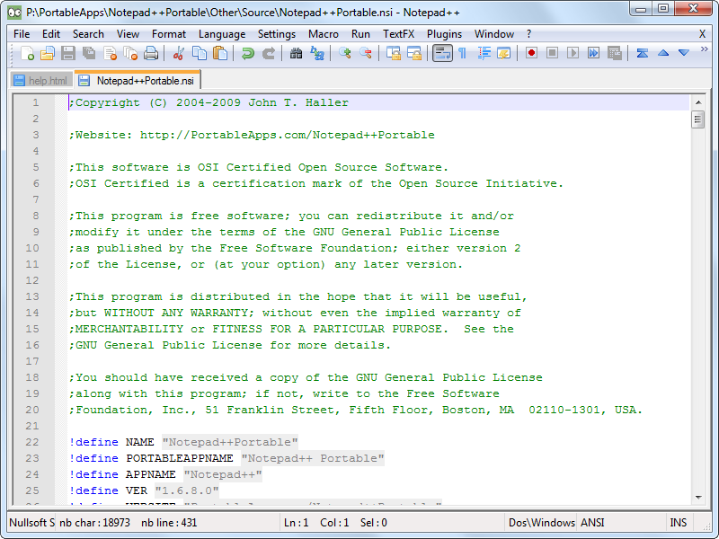 Notepad   6.4.3 NotepadppPortable.pn
