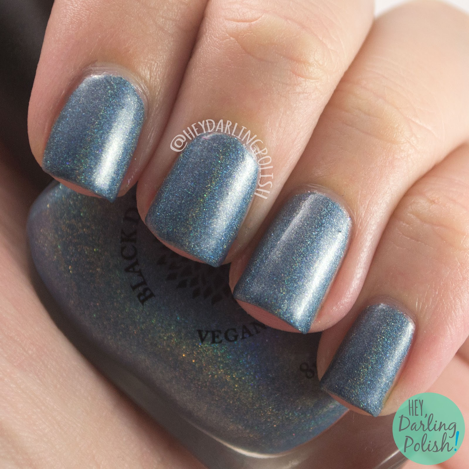 blue, silver blue, silver willow, holo, holographic, nails, nail polish, indie polish, indie nail polish, hey darling polish, black dahlia lacquer,