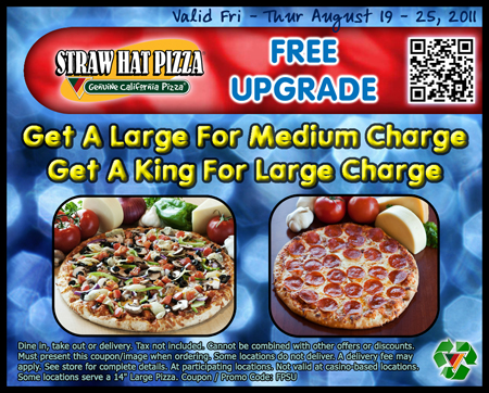 Straw Hat Pizza Free Upgrade