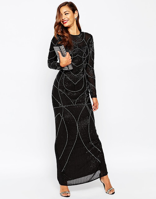 asos red carpet dress, black sparkly dress, full length black sparkly dress,