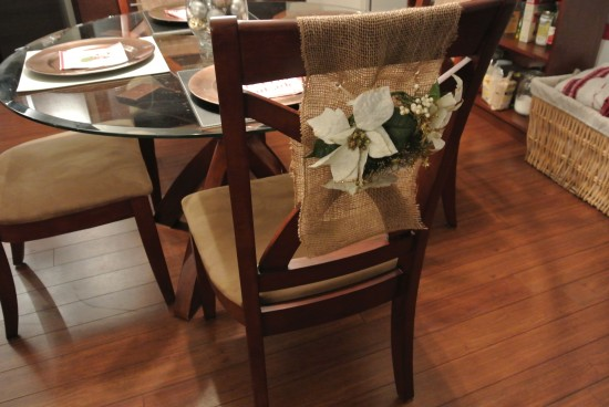 Poinsettia and Burlap Chair Cover by I'm a Little
