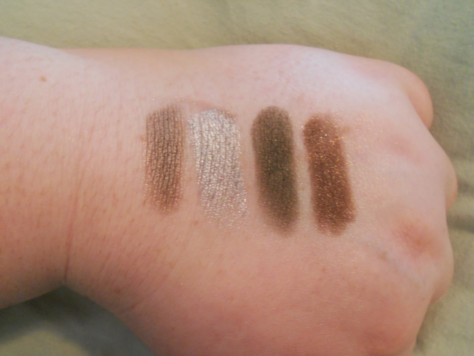 Lorac PRO Palette 2 Swatches - Chrome, Silver, Jade and Cocoa