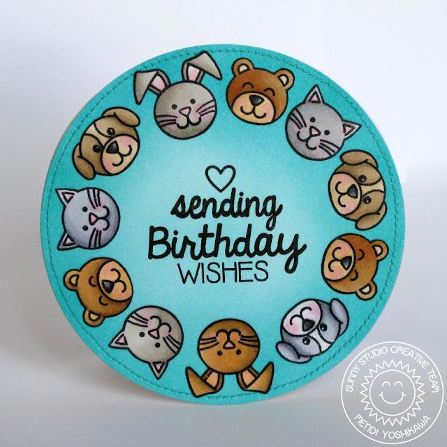 Sunny Studio Stamps Sending My Love & Birthday Smiles Card by Mendi Yoshikawa