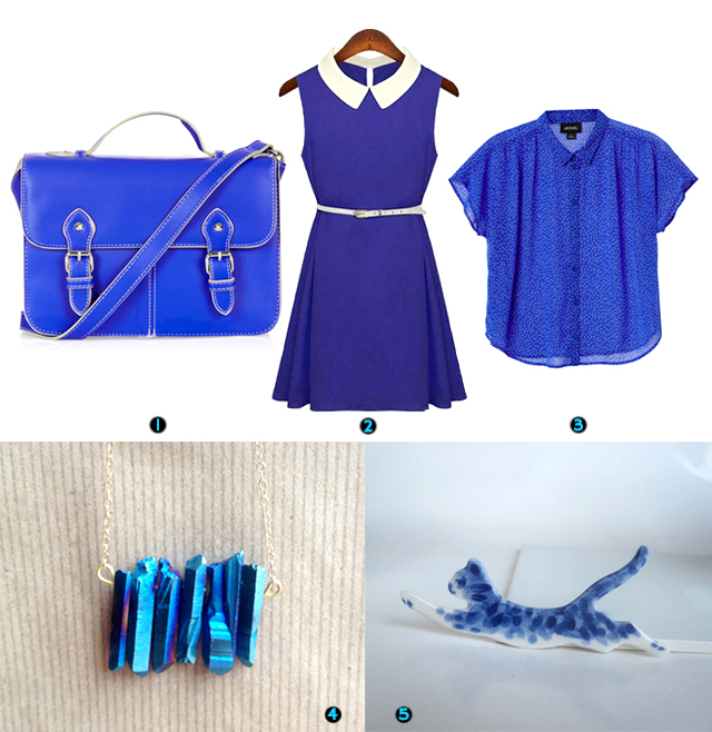 topshop satchel, 60's style shift dress, monki blouse, titanium quartz necklace, hand painted porcelain cat brooch