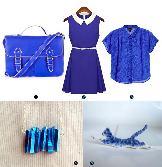 topshop satchel, 60's style shift dress, monki blouse, titanium quartz necklace, hand painted porcelain cat brooch