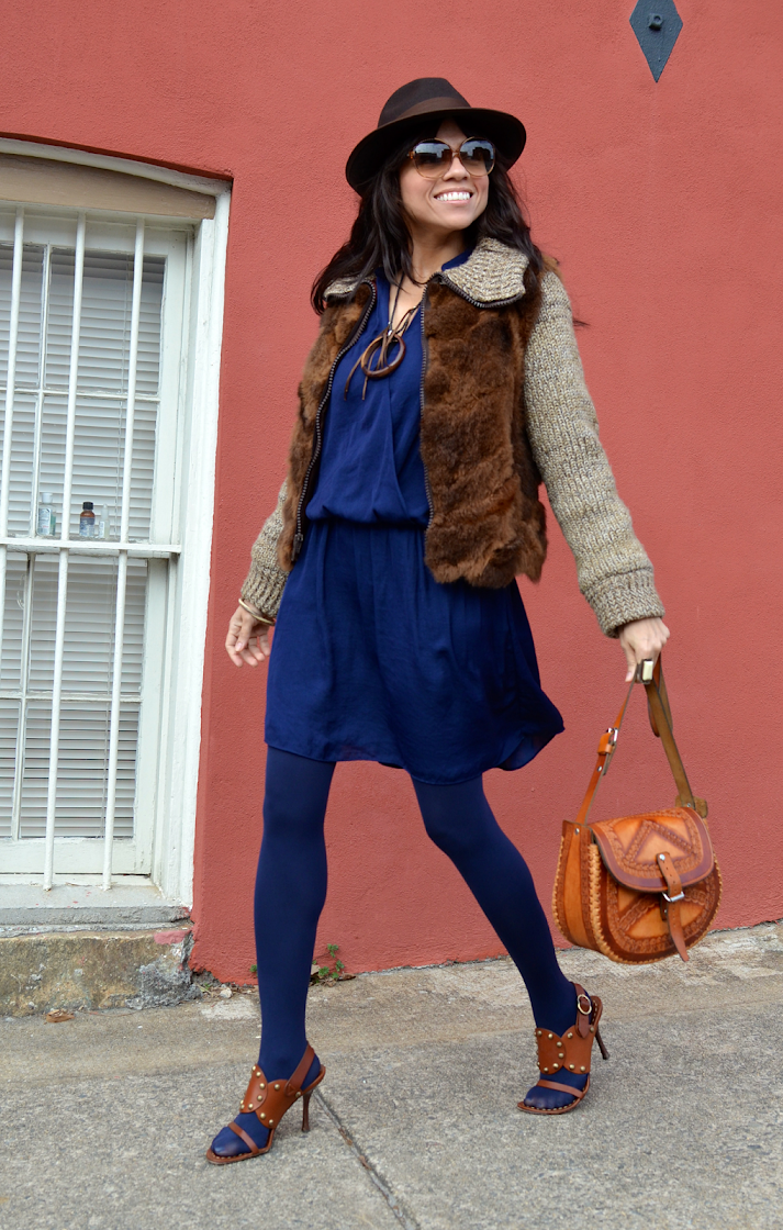 Blue and brown outfit