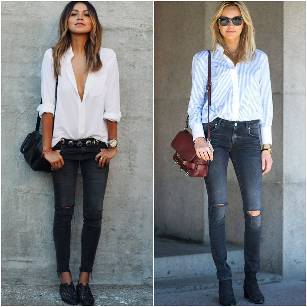 back to school outfit ideas - white pinstripe shirt button down - skinny jeans - ankle boots - street style looks