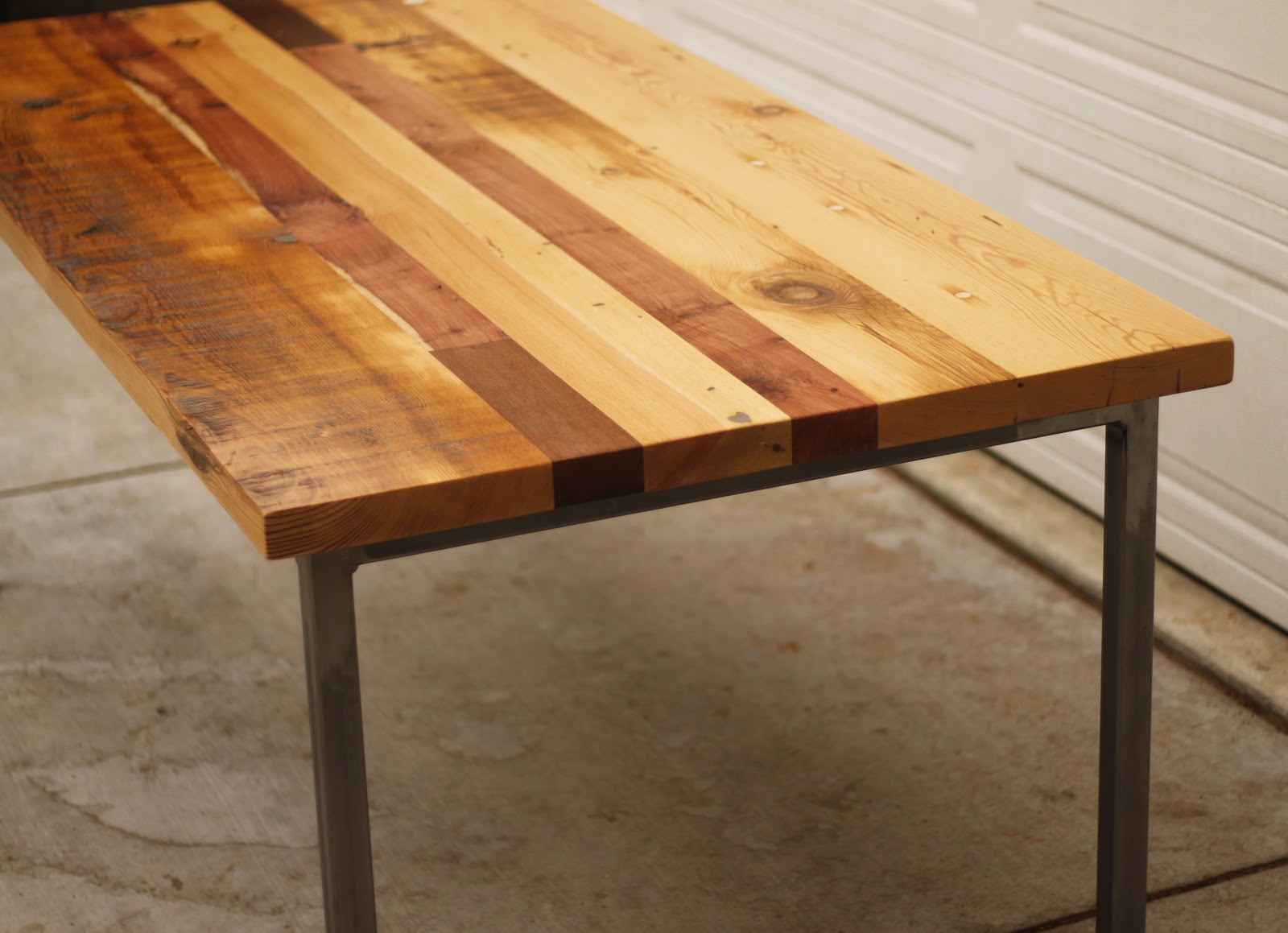 Arbor exchange reclaimed wood furniture patchwork table for Reclaimed wood table designs