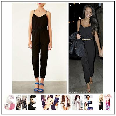 Michelle Keegan, Topshop, Black, Strappy, V Neck, Jumpsuit, Ruching Detail, Waist Detail, Thin Straps, Spagetti Straps