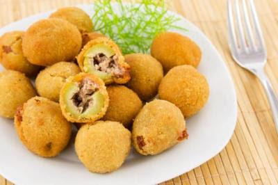 Fried Stuffed Olives Recipe, from Half Hour Meals
