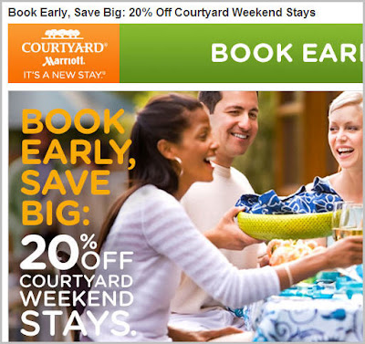 Courtyard by Marriott is now offering 20% off on the weekends only, I repeat, Weekends Only, if you book a room or rooms at least 14 days in advance.  I totally understand their strategy because Courtyard is such a business travel type of hotel, so they'd like to encourage leisure travel on the weekends by offering some incentives to get people to stay with them.  There you go.  20% off on the weekends only.  Here is the link to their official offer.  Book Early and Save | Courtyard Hotels Early Booking Weekend Deals