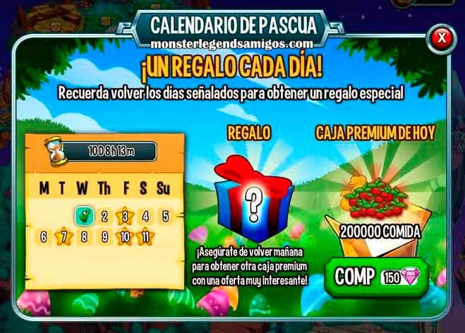 imagen del calendario de pascua de monster legends