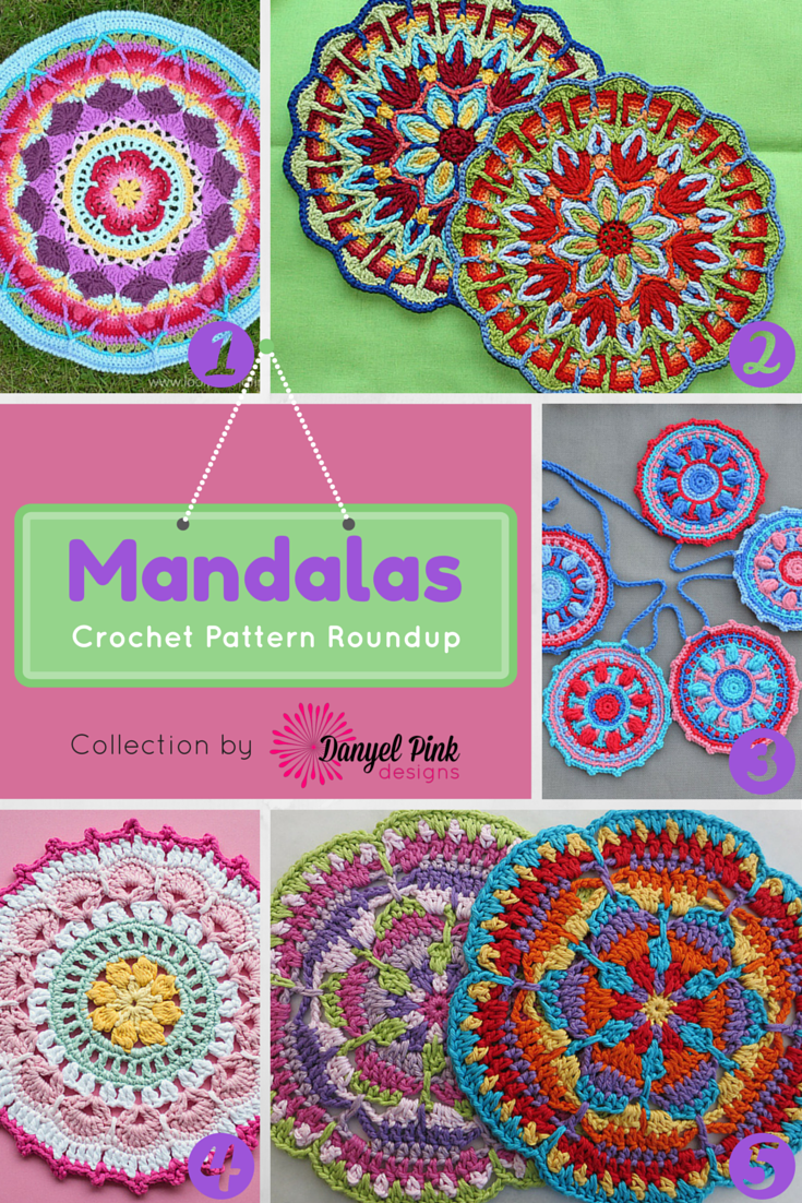 Danyel Pink Designs 5 Crochet Patterns For Mandalas