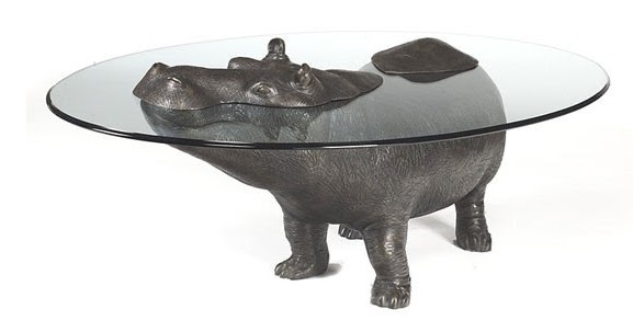 Mesas inusuales con un hipop tamo asomando la cabeza fuera - El hipopotamo muebles ...