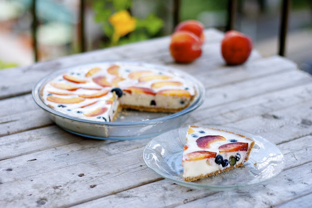 Blueberry-Peach Yogurt Pie with Whole-Wheat Crust