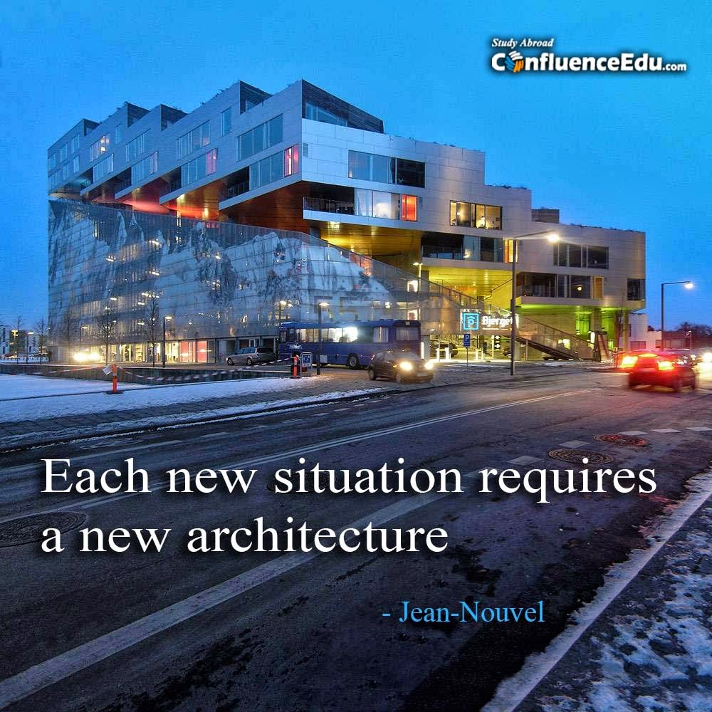 study abroad blog by confluenceedu com world architecture as jean nouvel said each new situation requires a new architecture inspired us to reach barch students and conduct essay competition about how to build