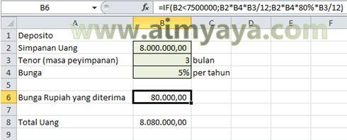 Gambar: Contoh Menghitung Deposito Dengan Microsoft Excel
