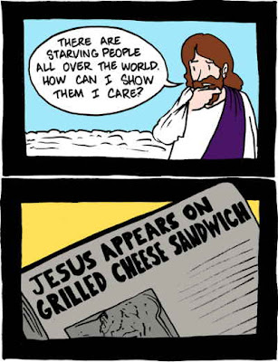 There are starving people all over the world. How can I show them I care? Jesus appears on grilled cheese sandwich