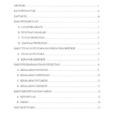 Nah itulah contoh daftar isi makalah atau karya tulis atau skripsi