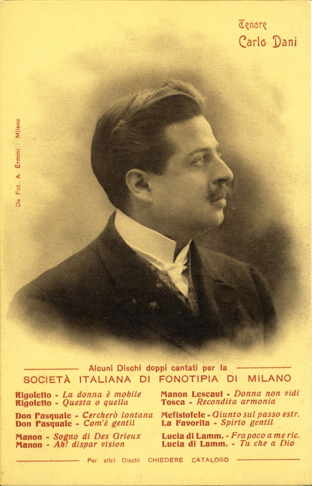 GREAT ITALIAN TENOR CARLO DANI (1873-1944) CD