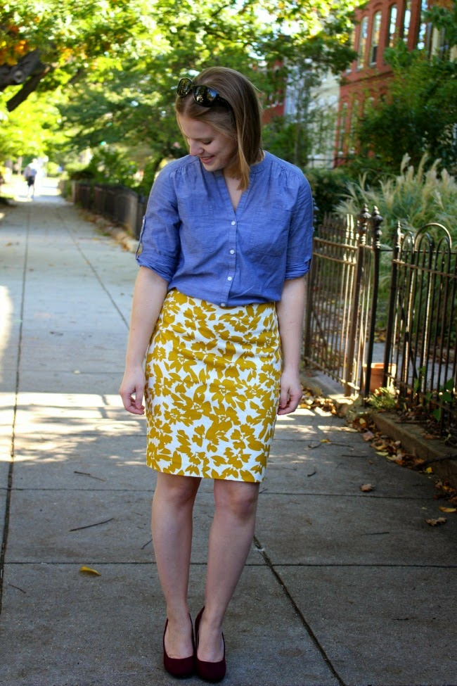 Falling for Fall | Something Good, fall outfits, fall style, burgundy pumps, yellow skirt, chambray, loft skirt