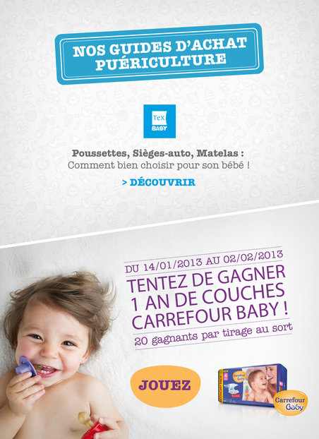 20 lots d'1 an de couches Carrefour Baby