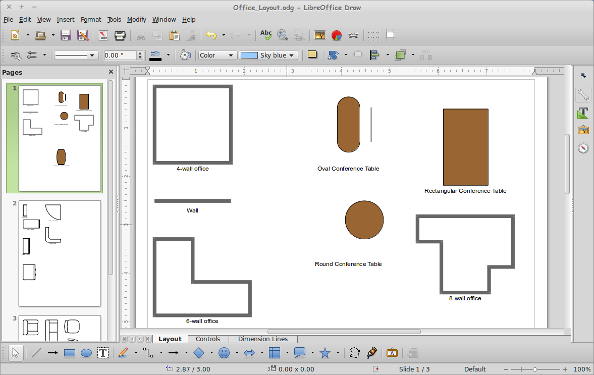 Download Vector Office Layout (Office_Layout.odg) LibreOffice Draw