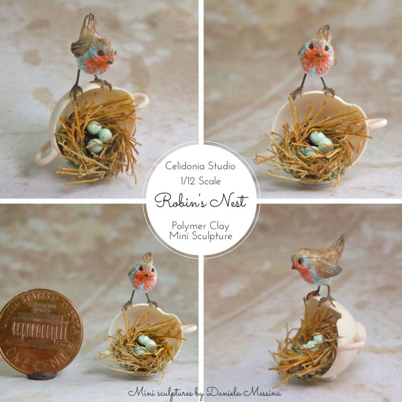 Pettirosso su nido scala 1/12 - Mini Scultura in pasta sintetica di Daniela Messina